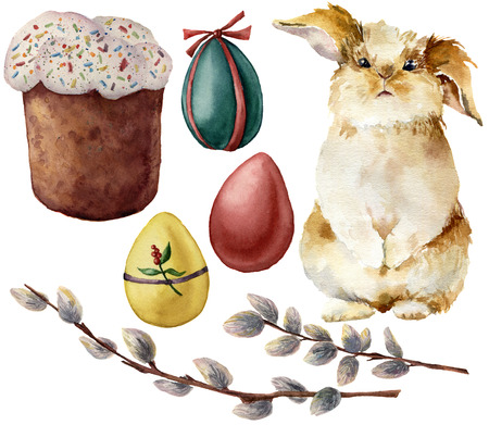 Watercolor Easter symbols set with eggs and rabbit. Hand painted color eggs, pussy willow branch, Easter cake, isolated on white background. Holiday illustration for design and print. Stockfoto