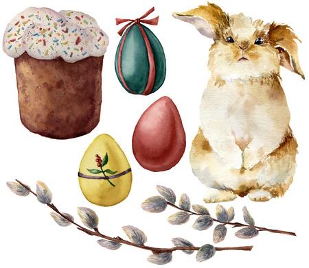 De symbolen van waterverfpasen met eieren en konijn worden geplaatst dat. Handgeschilderde kleureneieren, pussy wilgentak, Pasen-cake, die op witte achtergrond wordt geïsoleerd. Vakantie illustratie voor ontwerp en print. Stockfoto