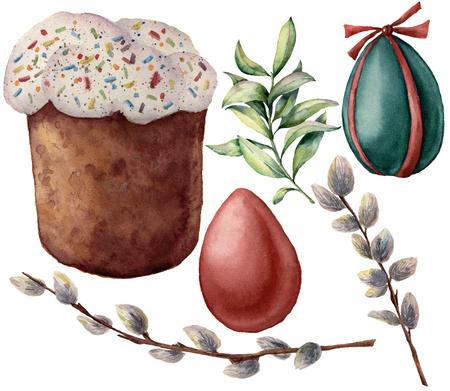 水彩イースターシンボルセット。手描きの色の卵、猫の柳の枝、イースターケーキ、白い背景に隔離春の緑。デザインと印刷のための休日のイラス