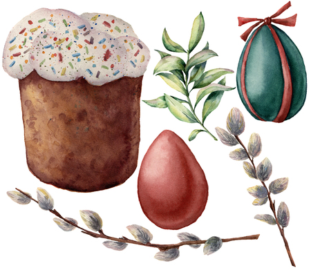 Watercolor Easter symbols set. Hand painted color eggs, pussy willow branch, Easter cake, spring greenery isolated on white background. Holiday illustration for design and print.