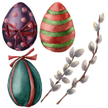 Watercolor Easter set with eggs and willow branch. Hand painted pussy willow and bright eggs with decor. Holiday illustration isolated on white background. Traditional symbols for design or print.