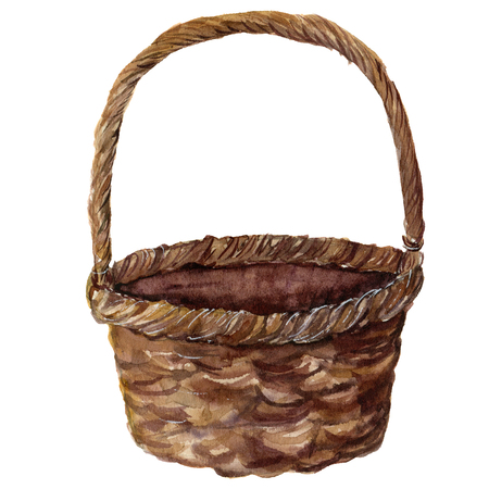 Watercolor straw basket. Hand painted wicker pad isolated on white background. Realistic illustration for design or print. Stock Photo