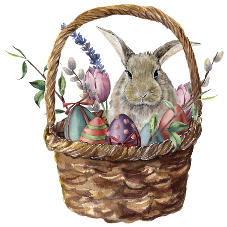 Watercolor easter card. Hand painted basket with colored eggs, bunny, lavender, tulip, willow and tree branch isolated on white background. Holiday print for design.