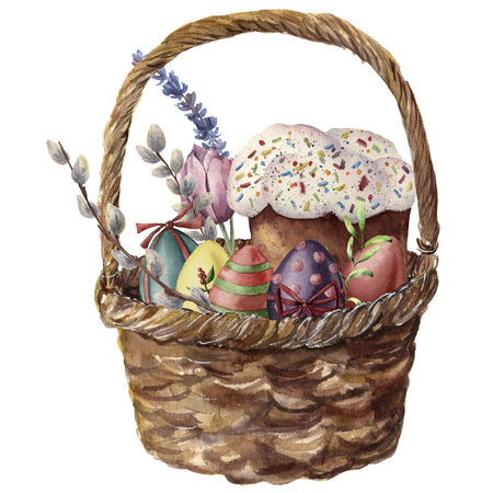 Watercolor easter basket. Hand painted illustration with colored eggs, easter cake, lavender, tulip, willow and tree branch isolated on white background. Holiday print for design. Stock Photo