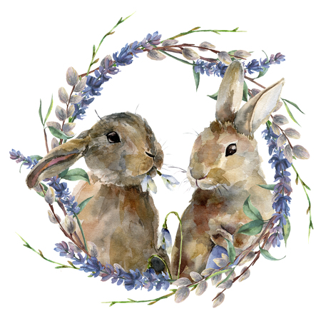 Watercolor Easter bunny with floral wreath. Hand painted rabbit with lavender, willow and tree branch isolated on white background. Holiday symbol illustration for design.