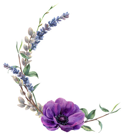Watercolor spring floral wreath. Hand painted border with lavender, anemone flower, willow and tree branch with leaves isolated on white background. Easter floral illustration for design.