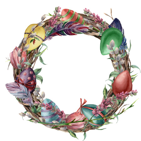 Watercolor tree wreath with easter feather. Hand painted border with willow, tulip and tree branch with leaves isolated on white background. Easter floral illustration for design, print or background.