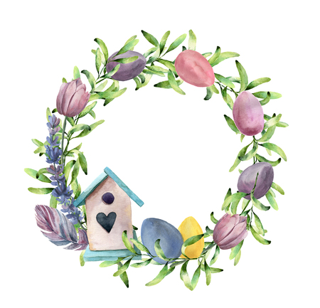 Watercolor spring wreath with birdhouse. Hand painted border with greenery, tulips and pastel eggs isolated on white background. Easter floral illustration for design, print or background.