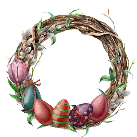 Watercolor tree wreath with easter eggs. Hand painted border with willow, tulip and tree branch with leaves isolated on white background. Easter floral illustration for design, print or background.