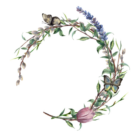 Watercolor spring wreath with butterfly. Hand painted border with lavender, willow, tulip and tree branch with leaves isolated on white background. Easter floral illustration for design, print.