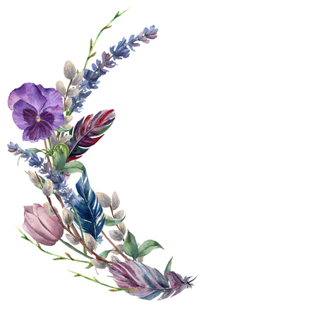 Watercolor spring feather wreath. Hand painted border with lavender, pansies flower, willow, tulip and tree branch with leaves isolated on white background. Easter floral illustration for design. Фото со стока