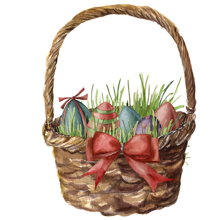 Watercolor easter basket with eggs. Hand painted basket with green, red, blue eggs, bow and grass isolated on white background. Holiday print for design, print or background.