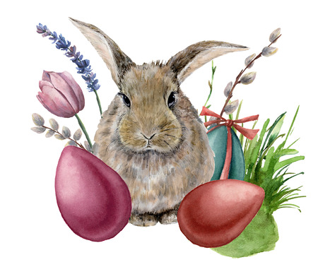 Watercolor easter bunny. Hand painted card with colored eggs, bunny, lavender, tulip, willow, grass and tree branch isolated on white background. Holiday print for design, print or background.