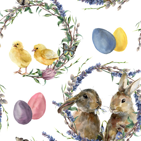 Watercolor easter wreath pattern. Hand painted rabbit, chicken with lavender, willow, tulip, color eggs, butterfly and tree branch isolated on white background.