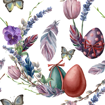 Watercolor seamless pattern with eggs and feathers. Hand painted vibrant illustration isolated on white background. Illustration with butterfly, flowers, tree branch and leaves for design or fabric.