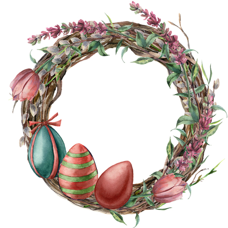 Watercolor tree wreath with easter lavender. Hand painted border with willow, tulip, eggs and tree branch with leaves isolated on white background. Easter floral illustration for design, print.