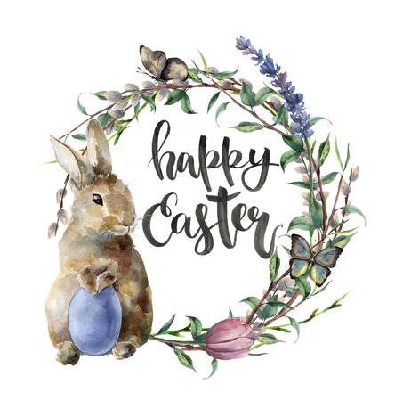 Watercolor easter card with bunny, butterfly and lettering. Hand painted border with egg, lavender, willow, tulip, tree branch with leaves isolated on white background. For design, print, background. Stock Photo
