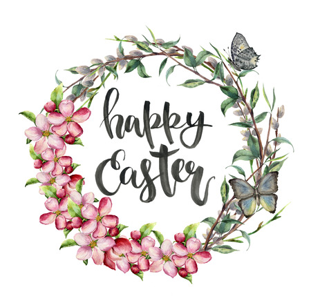 Watercolor easter card with butterfly, apple flowers and lettering. Hand painted illustration with willow, tree branch with leaves isolated on white background. For design, print, background. Banco de Imagens