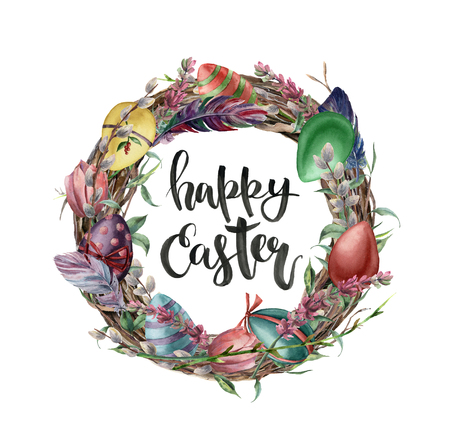 Watercolor easter card with eggs, flowers and lettering. Hand painted illustration with willow, tulip, feather and tree branch with leaves isolated on white background. For design, print, background. Stock Photo