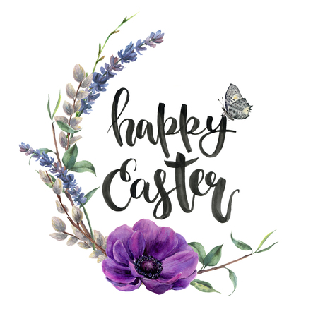 Watercolor easter card with anemone flower. Hand painted border with lavender, butterfly, willow and tree branch with leaves isolated on white background. Easter floral illustration for design.