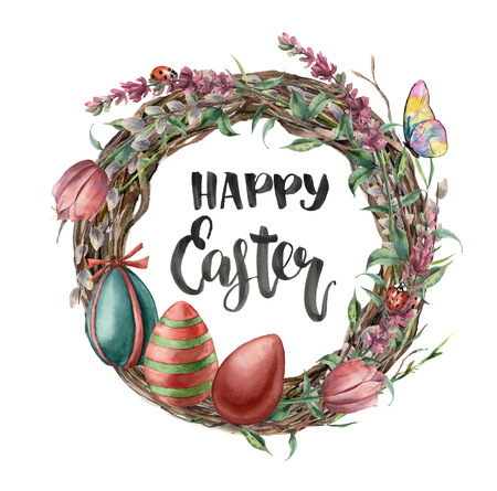 Watercolor easter card with butterfly, flowers and lettering. Hand painted illustration with willow, tulip, lavender, eggs and tree branch with leaves isolated on white background. For design, print.