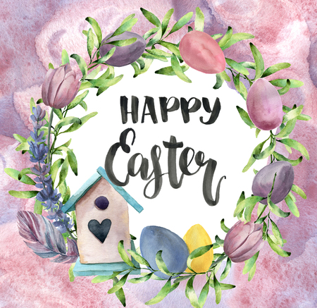Watercolor easter card with abstract background. Watercolor spring wreath with birdhouse, greenery, eggs, tulips and lettering isolated on white background. For design, print or background. Stock Photo