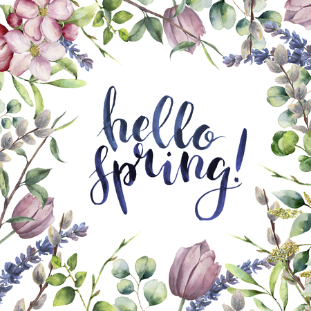 Watercolor Hello spring floral card. Hand painted illustration with eucalyptus leaves, apple blossom, tulip, willow, lavender, tree brunch isolated on white background. Print for design or background. 스톡 콘텐츠
