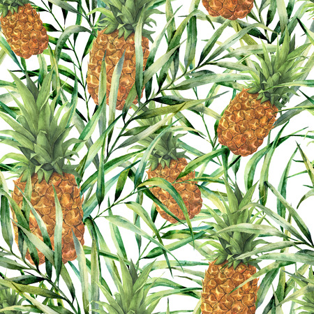 Watercolor tropical pattern with juicy pineapple. Hand painted tropical fruit with palm leaves isolated on white background. Food botanical illustration for design, print or fabric.