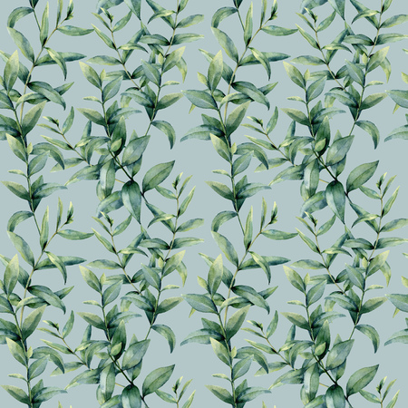 Watercolor realistic and thick eucalyptus pattern. Hand painted floral seamless ornament isolated on blue background. Nature botanical illustration for design, print or fabric.