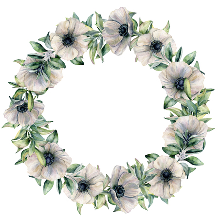 Watercolor white anemone wreath with eucalyptus. Hand painted flowers and leaves isolated on white background. Botanical floral illustration for design, fabric, background or print. Stock Photo