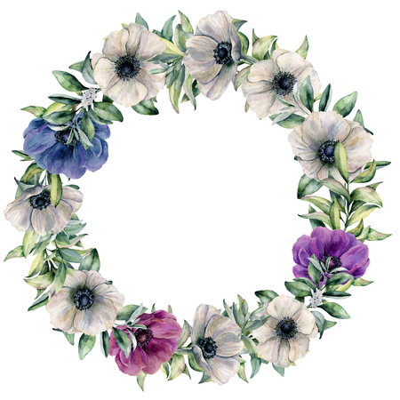 Watercolor wreath with color anemone and eucalyptus. Hand painted violet, pink, blue flowers and leaves isolated on white background. Botanical floral illustration for design, background, print.