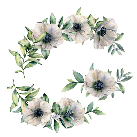 Watercolor floral composition with anemone. Hand painted white flowers and eucalyptus leaves isolated on white background. Botanical illustration for design, print, fabric or background. Stock Photo