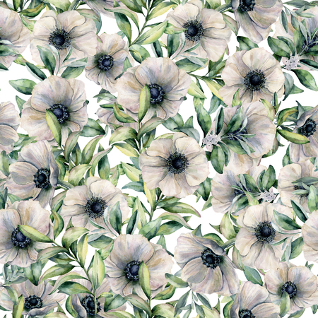 Watercolor seamless pattern with anemone and eucalyptus leaves. Hand painted floral illustration with white flowers and leaves isolated on white background. For design, print, fabric or background. Stock Illustration - 99287679