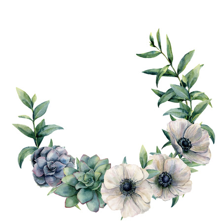 Watercolor anemone and succulent wreath. Hand painted white, green, blue flowers and eucalyptus leaves isolated on white background. Botanical floral illustration for design, background or print.