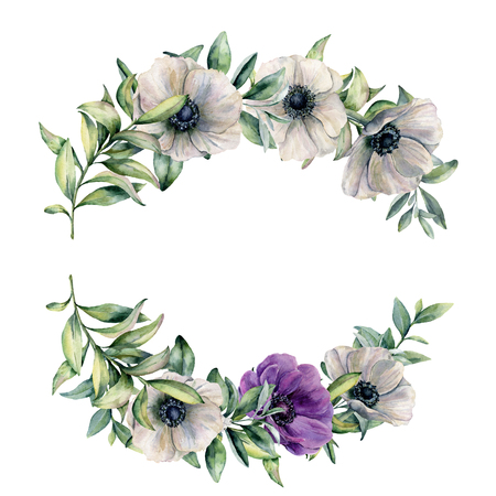 Watercolor branch with violet, white anemone and leaves. Hand painted white,violet flowers and eucalyptus leaves isolated on white background. Botanical illustration for design, fabric or background.