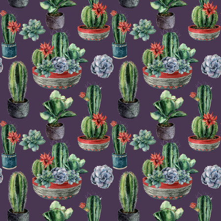 Watercolor seamless pattern with cactus. Hand painted cereus, echeveria, echinocactus grusonii with green and blue succulent isolated on violet background. Illustration for design, fabric, background.