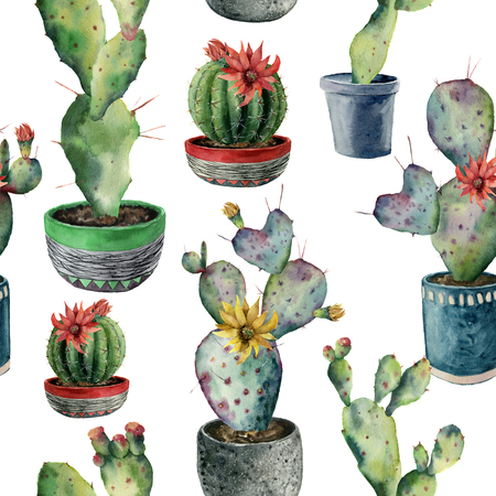 Watercolor seamless pattern with cactus in a pot. Hand painted opuntia, cereus in a green, red and blue pot isolated on white background. Illustration for design, fabric, print or background.