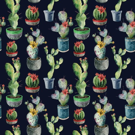 Watercolor cactus in a pot seamless pattern. Hand painted opuntia, cereus in a green, red and blue pot isolated on dark blue background. Illustration for design, fabric, print or background. 写真素材