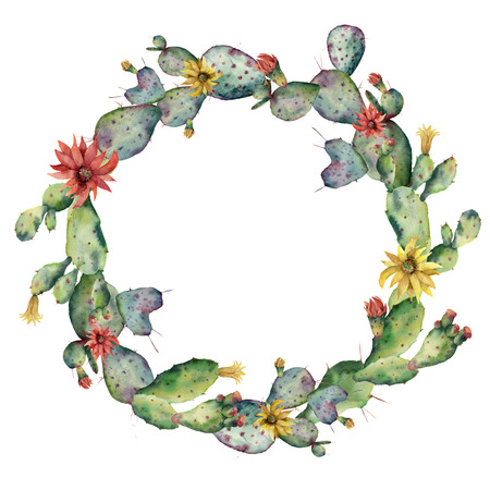 Watercolor flowering cactuses wreath. Hand painted opuntia with red and yellow flower isolated on white background. Illustration for design, print, fabric or background. Stock Photo