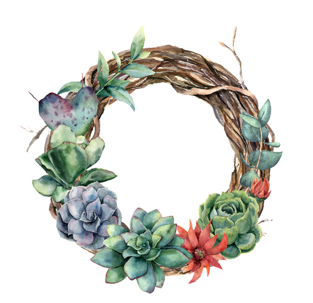 Watercolor tree wreath with cactus and succulent. Hand painted opuntia, echeveria, eucalyptus leaves with succulent isolated on white background. Illustration for design, print, fabric or background.