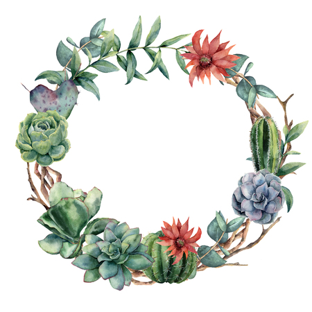 Watercolor cactuses wreath with eucalyptus branch. Hand painted cereus, echeveria, echinocactus grusonii and succulent isolated on white background. Illustration for design, fabric or background.