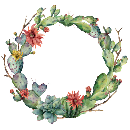 Watercolor cactuses wreath with flowers and succulent. Hand painted flowering opuntia, tree branch, echinocactus grusonii isolated on white background. Illustration for design, fabric or background. Stock Photo