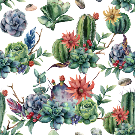Watercolor seamless pattern with cactuses and red, yellow flowers. Hand painted cereus, succulent, berries, branch and leaves isolated on white background. Illustration for design, fabric or print.