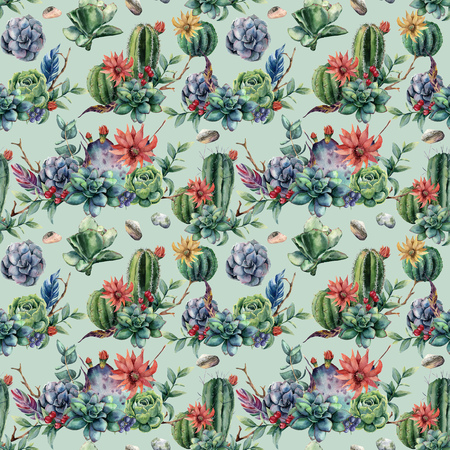 Watercolor seamless patttern with cactuses and many flowers. Hand painted cereus, succulent, berries, branch and leaves isolated on blue pastel background. Illustration for design, fabric or print. Stock Photo