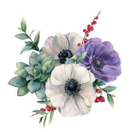 水彩画の白いアネマネと多肉のブーケ。手描きのカラフルな花、ユーカリの葉と白い背景に分離されたベリー。デザイン、ファブリック、印刷また