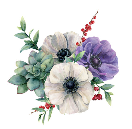 Watercolor white anemone and succulent bouquet. Hand painted colorful flower, eucalyptus leaves and berries isolated on white background. Illustration for design, fabric, print or background.