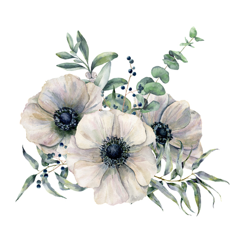 Watercolor white anemone bouquet. Hand painted flower, eucalyptus leaves and juniper isolated on white background. Illustration for design, fabric, print or background.