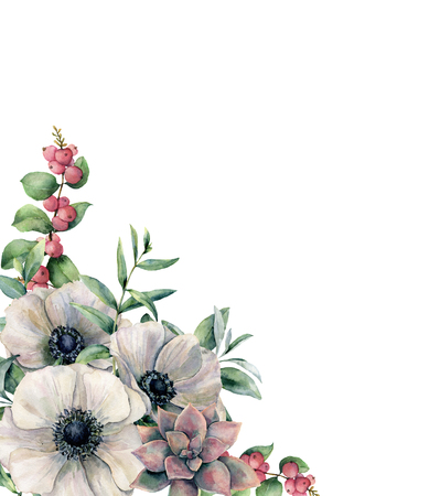 Watercolor white anemone and pink succulent card. Hand painted colorful flower, eucalyptus leaves and berries isolated on white background. Illustration for design, fabric, print or background. 版權商用圖片 - 100252502