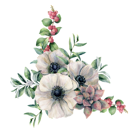 水彩画の白いアネマネとピンクの多肉のブーケ。手描きのカラフルな花、ユーカリの葉と白い背景に分離されたベリー。デザイン、ファブリック、