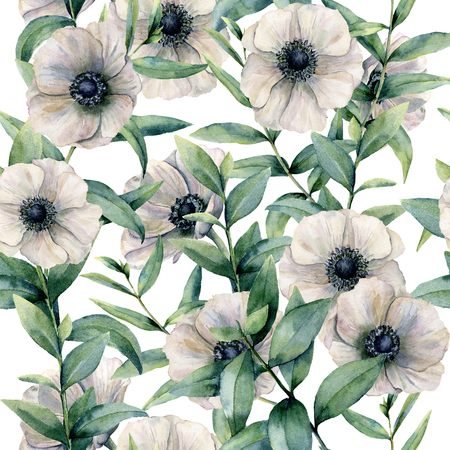 Watercolor seamless pattern with classic anemone. Hand painted white flower abd eucalyptus leaves isolated on white background. Illustration for design, fabric, print or background.